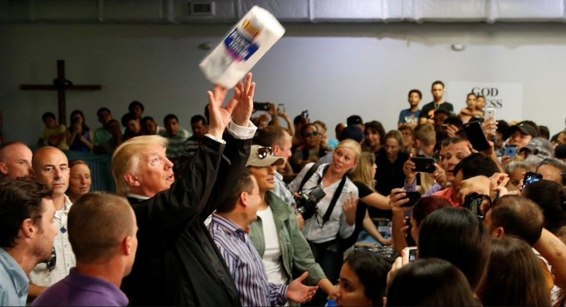 trump throwing paper towels Google Search